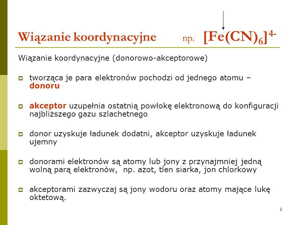Wiązanie koordynacyjne np. [Fe(CN)6]4-